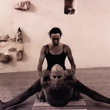 Leonie adjusting Graeme Bekasana
